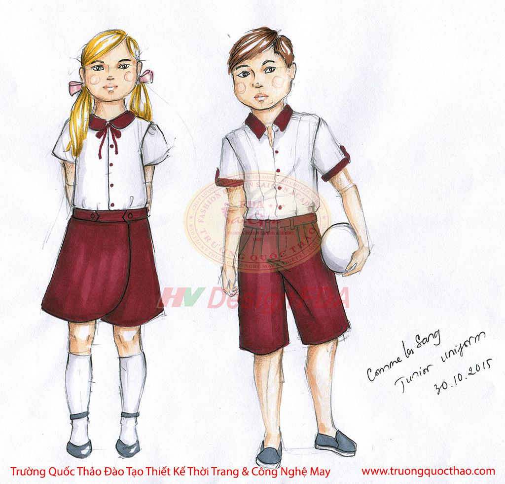 Thiết kế thời trang trẻ em - Bản vẽ phác thảo
