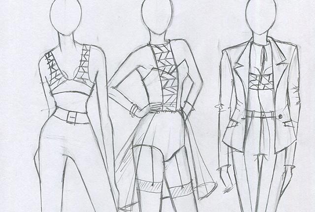 Phác thảo trang phục chì của học viên khóa Thiết Kế Thời Trang - Trường Quốc Thảo